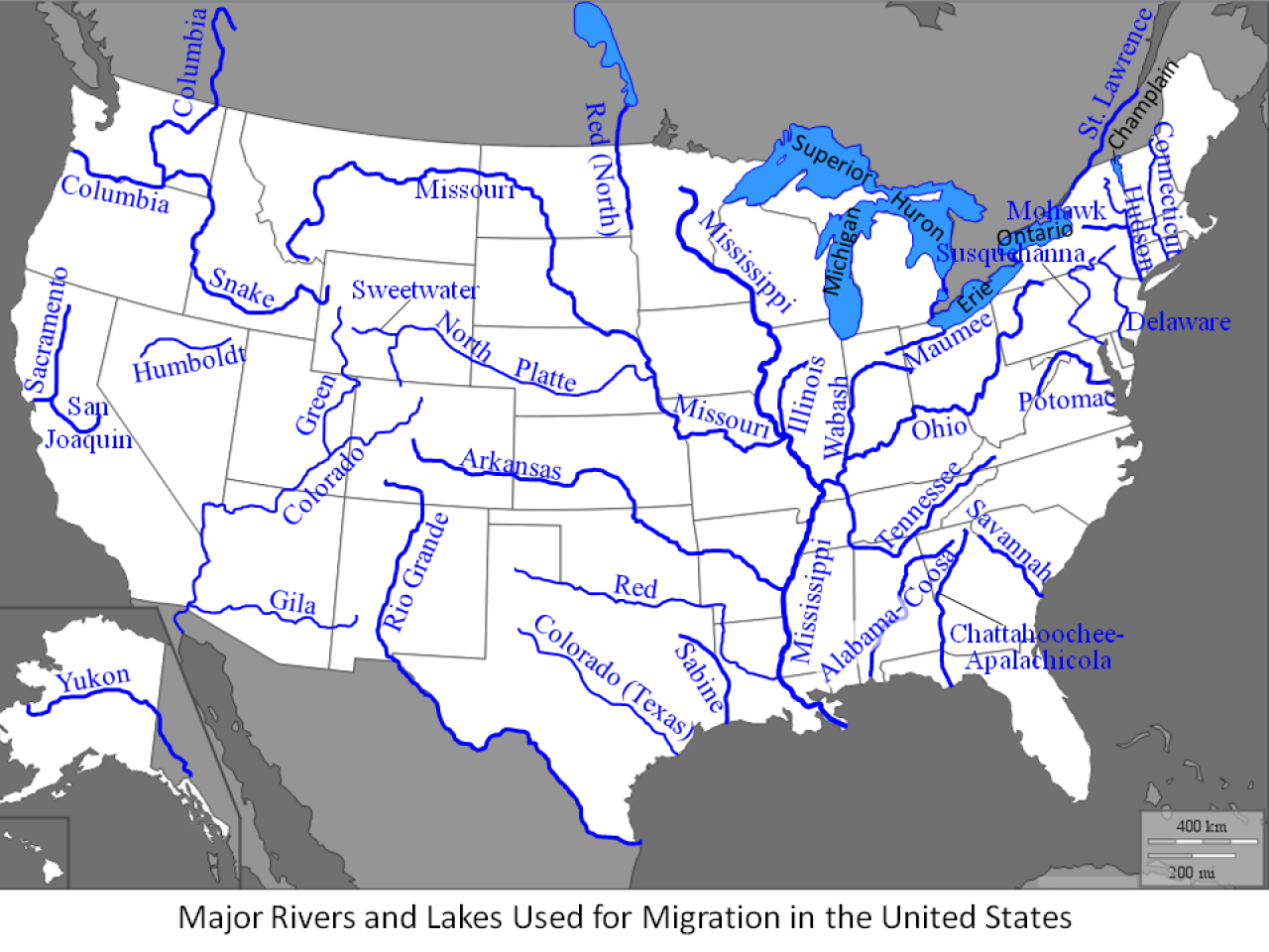 LongTerm Online Group Project Environmental Issues And Resources - Us map major rivers